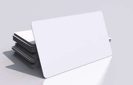 communication concept: White Blank Business Cards Mockup. Rounded Corners 3D Business Cards Illustration. Visual Communication Concept. Stock Photo