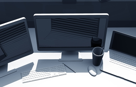 Triple Screens Graphic Designer Desk. 3D Illustration.