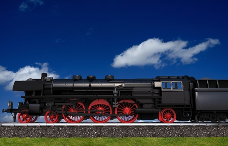 locomotive: Steam Locomotive Travel Illustration. Locomotive Side View. Stock Photo