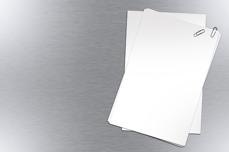 documentation: Blank Papers on Polished Metal Background. Stock Photo