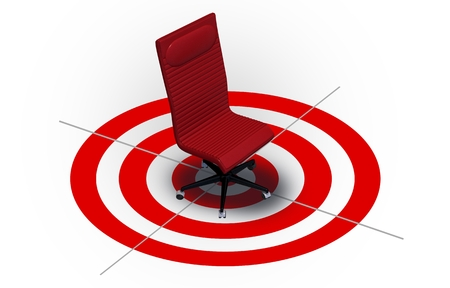 red chair: Job Targeting Career Concept Illustration with Office Chair in the Target. Having Career Goal. Stock Photo