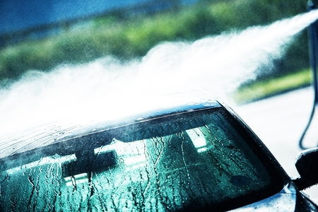 soaping: Washing Car in Hand Car Wash. Car Cleaning. Stock Photo