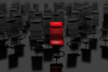 market place: Business Leader Concept. Selected Red Chair in Front of Group of Chairs. Leading in Business Concept 3D Illustration.