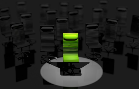 market place: Job Place in the Spot Light. Green Office Chair Job Concept Illustration.