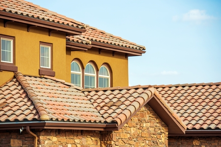 roofing: Slates Roof. Modern American South West Style Home Roof Closeup Photo. Stock Photo