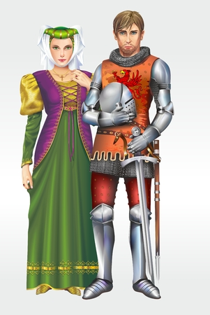 European Medieval Knight with Wife Detailed Illustration.