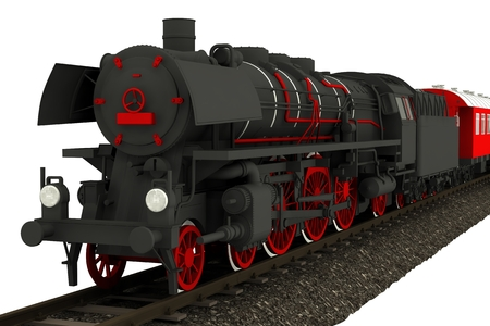 steam locomotive: Isolated Old Locomotive Illustration. Black and Red Steam Locomotive Graphic. Stock Photo