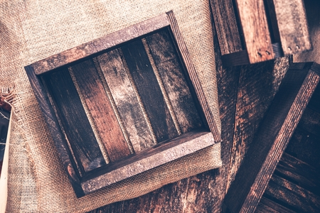 reclaimed: Old Small Wooden Crates on Canvas. Reclaimed Wood Crate.