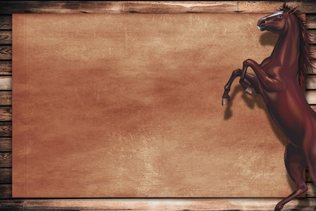 rearing: Wild Horse Copy Space Design. Wooden Background. Rearing Horse on the Right Side.