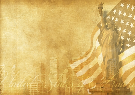 Vintage American Background Abstract Illustration with Statue of Liberty, American Flag and American City Skyline. Vintage Old Paper Design.