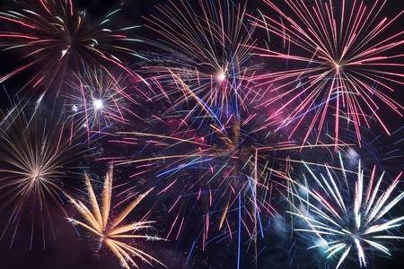 Fireworks Blast Background. Colorful Fireworks\ Backdrop.