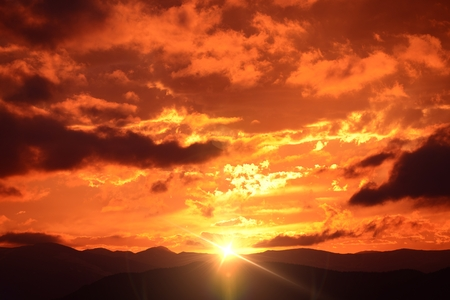 colorado mountains: Mountain Sunset Landscape. Colorado Sunset, United States. Reddish Cloudscape Sky.
