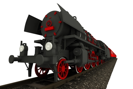 steam locomotive: Steam Locomotive Isolated on Solid White Background. 3D Locomotive with Carts on Tracks Illustration.