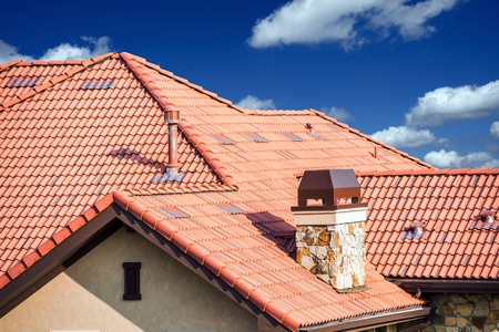 roof tile: House Slates Roof. Roofing Works. Modern House Roof Closeup.