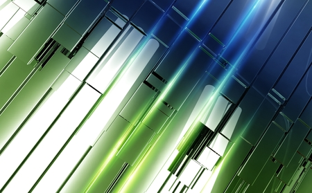 slash: Shiny Metal Panels Backdrop. Green-Blue 3D Abstract Bars with Light Rays Illustration. Modern Technology Concept Background Design. Stock Photo