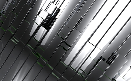 Polished Metal Bars Background. 3D Futuristic Polished Metal Bars Background.