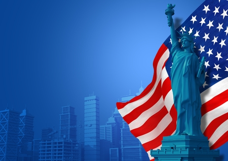 labor day: Blue American Background Illustration. Statue of Liberty, Flag and City Skyline Illustration with Copy Space. American Events and Celebration Backdrop.