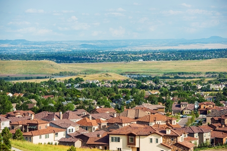 residential homes: Colorado Living. Lakewood Colorado - Denver Metro Area Residential Area Panorama. United States. Stock Photo