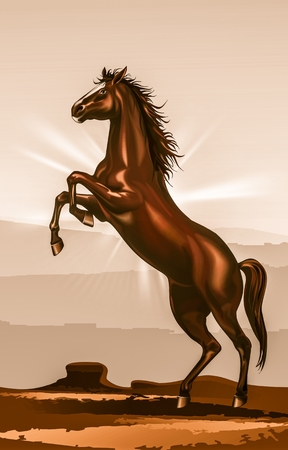 rearing: Rearing Horse Illustration. Sepia Color Grading. Wild Mustang on a Desert. Stock Photo