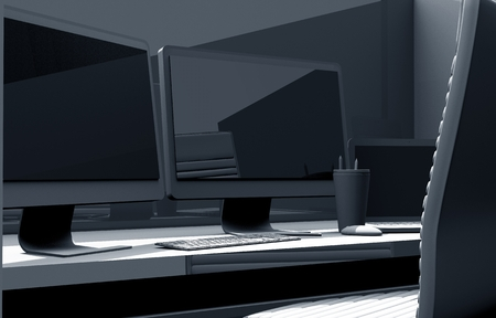 computer screen: Desk with Computer 3D Concept Illustration. Dual Display Desk Workstation.  Stock Photo