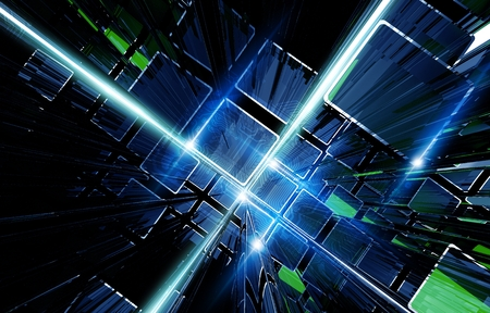 electronic board: Into the Future Concept 3D Illustration. Dark Blue Bars and Cubes Abstract.