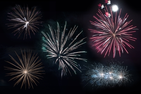feats: Isolated on Black Firework Blasts. Five Firework Explosions to Choose From. Stock Photo