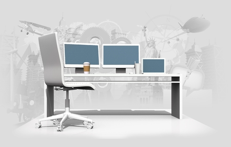 designer: World of Graphic Design 3D Concept Illustration with Designer Desk.