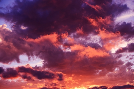 Scenic Sunset Cloudscape Photo Background.