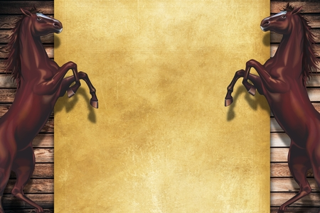 rearing: Rearing Horses Copy Space Design. Wooden Background and Two Rearing Horses.