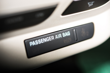feature: Passenger Car Air Bag On Off Indicator. Modern Car Safety Feature Stock Photo
