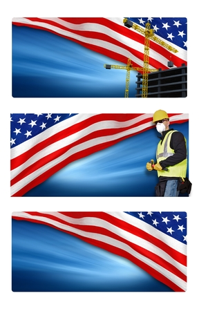 labor day: American Labor Day Banners Isolated on White Background.