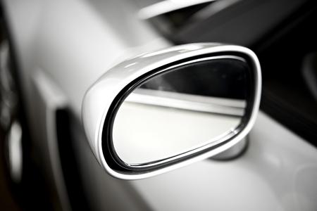 Super Car Silver Side Car Mirror. Car Safety Feature. 스톡 콘텐츠