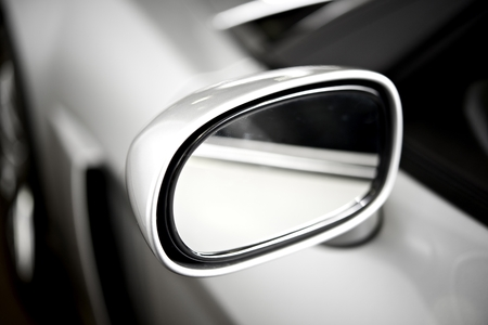 car glass: Super Car Silver Side Car Mirror. Car Safety Feature. Stock Photo