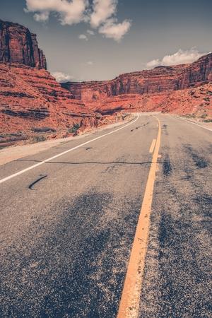 desert highway: Scenic Utah Desert Highway in Vertical Photography.  Stock Photo