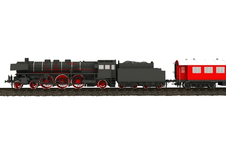Steam Train Illustration Isolated on White. Aged Steam Locomotive. Stock Photo