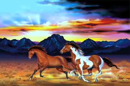 galloping: Two Running Wild Horses at the Sunset Artistic Illustration.