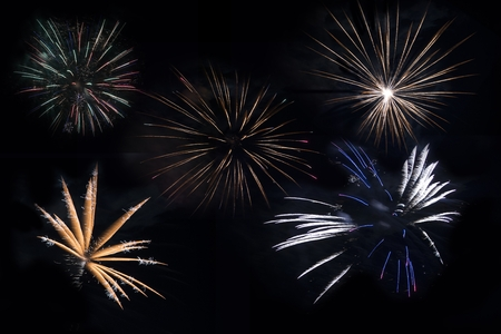 feats: Separated Fireworks Blasts on Solid Black. Five Firework Explosions to Choose From. Stock Photo
