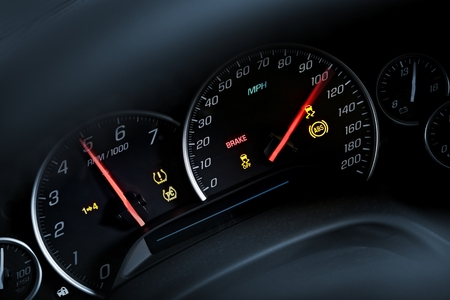 Super Car Tachometer. Auto-Armaturenbrett. Moderne Super Car Interior. Standard-Bild - 31326032