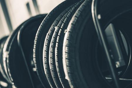 rack wheel: Brand New Tires Rack Closeup