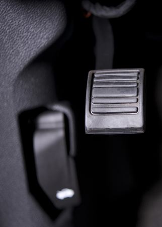 feature: Parking Brake Pedal. Automatic Transmission Cars Parking Brake Feature. Stock Photo