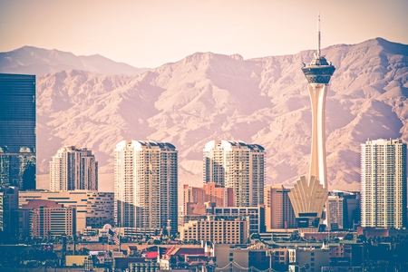 vegas strip: Vintage Las Vegas Skyline. Las Vegas Strip From Distance. Vintage Color Grading. Nevada, United States. Editorial