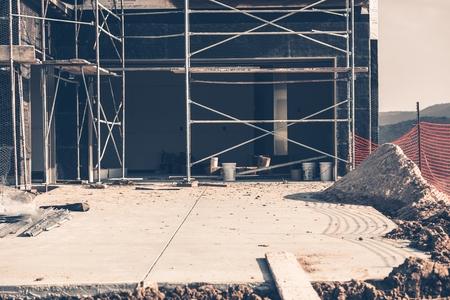 residential construction: House Building. House Construction Garage Doors Closeup.