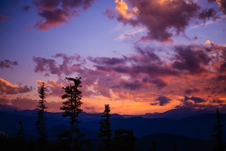 colorado mountains: Mountain Landscape Sunset. Sunset Colorado Cloudscape Stock Photo