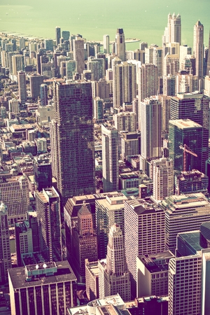 american midwest: Vintage Grading Chicago Skyline Vertical Photography. Stock Photo