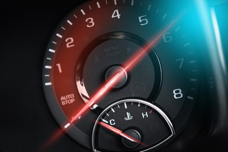 Tachometer RPM Meter Car Power Concept. Super Car Electronic Metering.