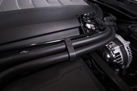 Modern Vehicle Engine. Super Car Gas Engine Closeup.