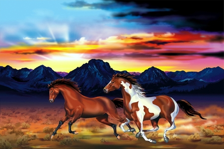 rancher: Two Running Wild Horses at the Sunset Artistic Illustration.