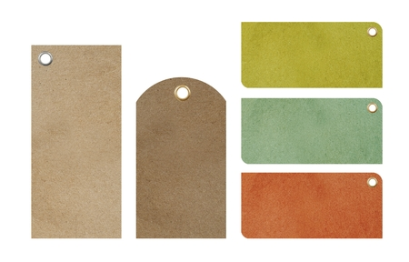 Paper Blank Price Tags Isolated. Five Blank Colorful Tags To Choose From. Banque d'images