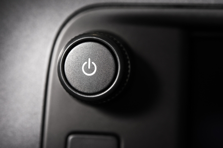 standby: Power Standby Equipment Button Closeup. Electronic Technology.
