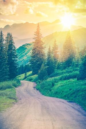 Gravel Road Through Wonderful Colorado Landscape Scenery.